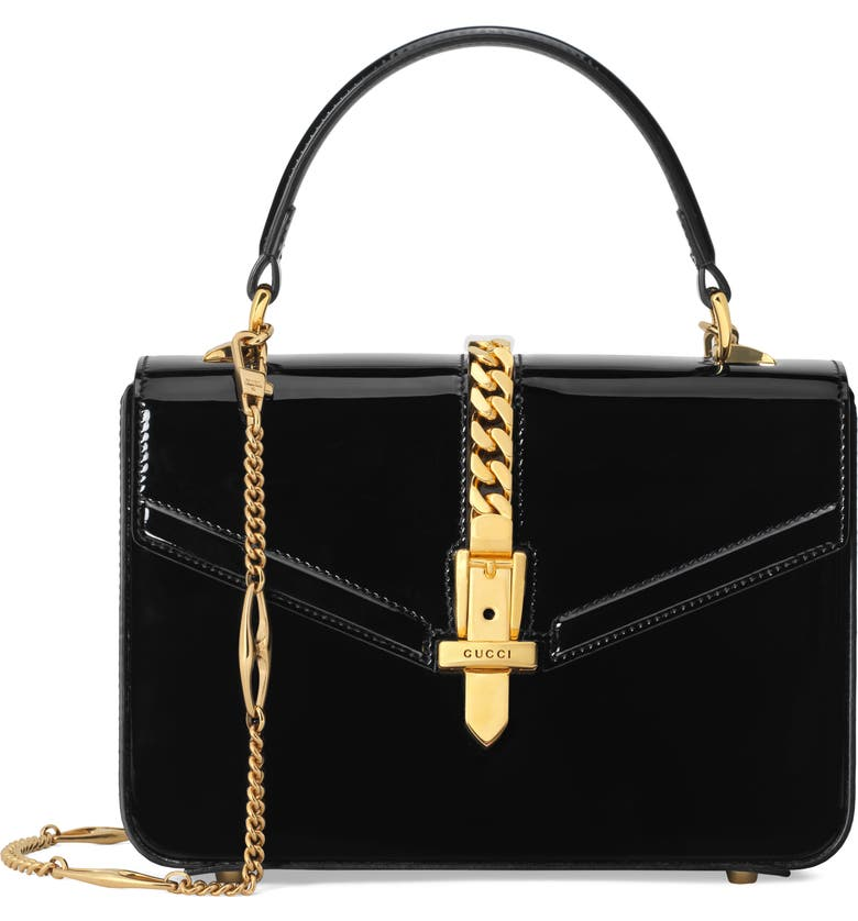 GUCCI Mini Sylvie 1969 Patent Leather Top Handle Bag, Main, color, NERO