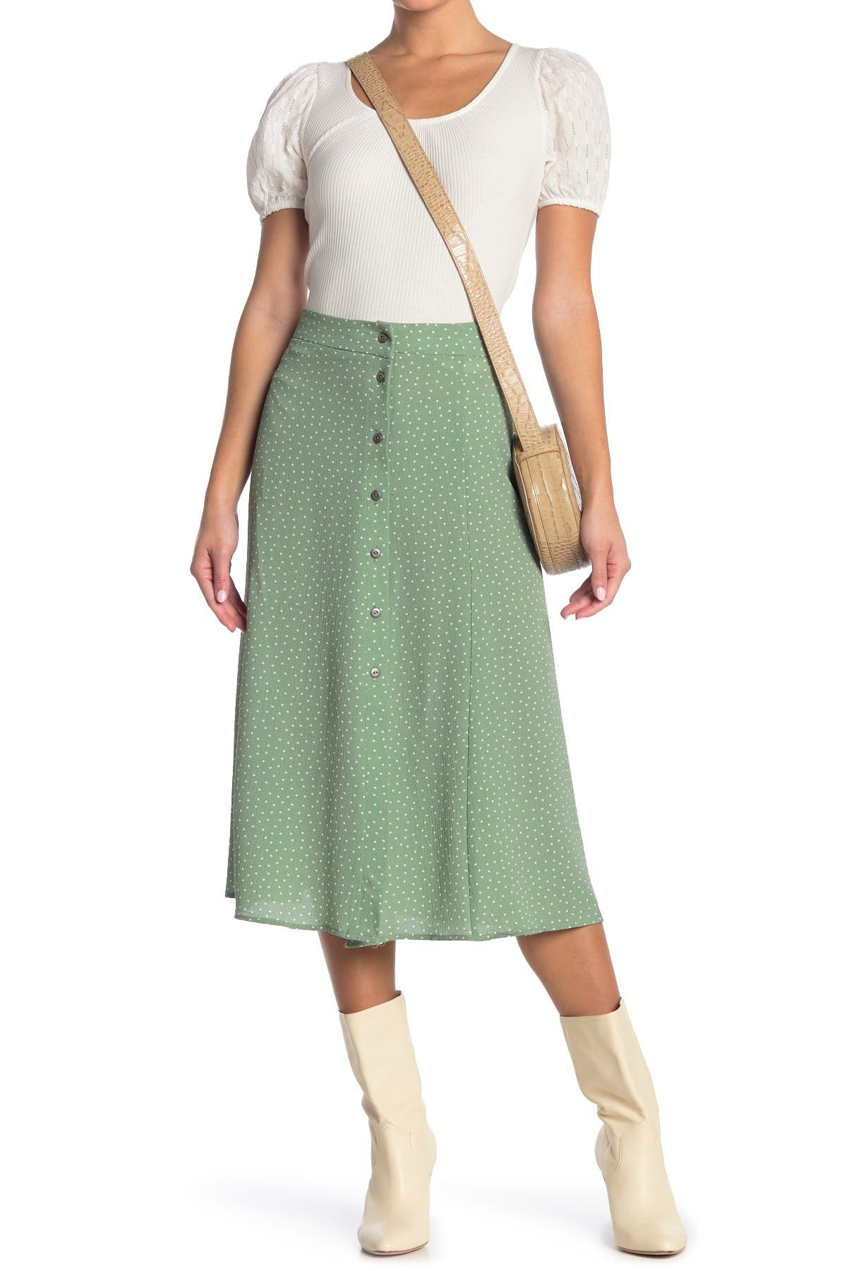 Image of GOOD LUCK GEM Printed Side Button Midi Skirt