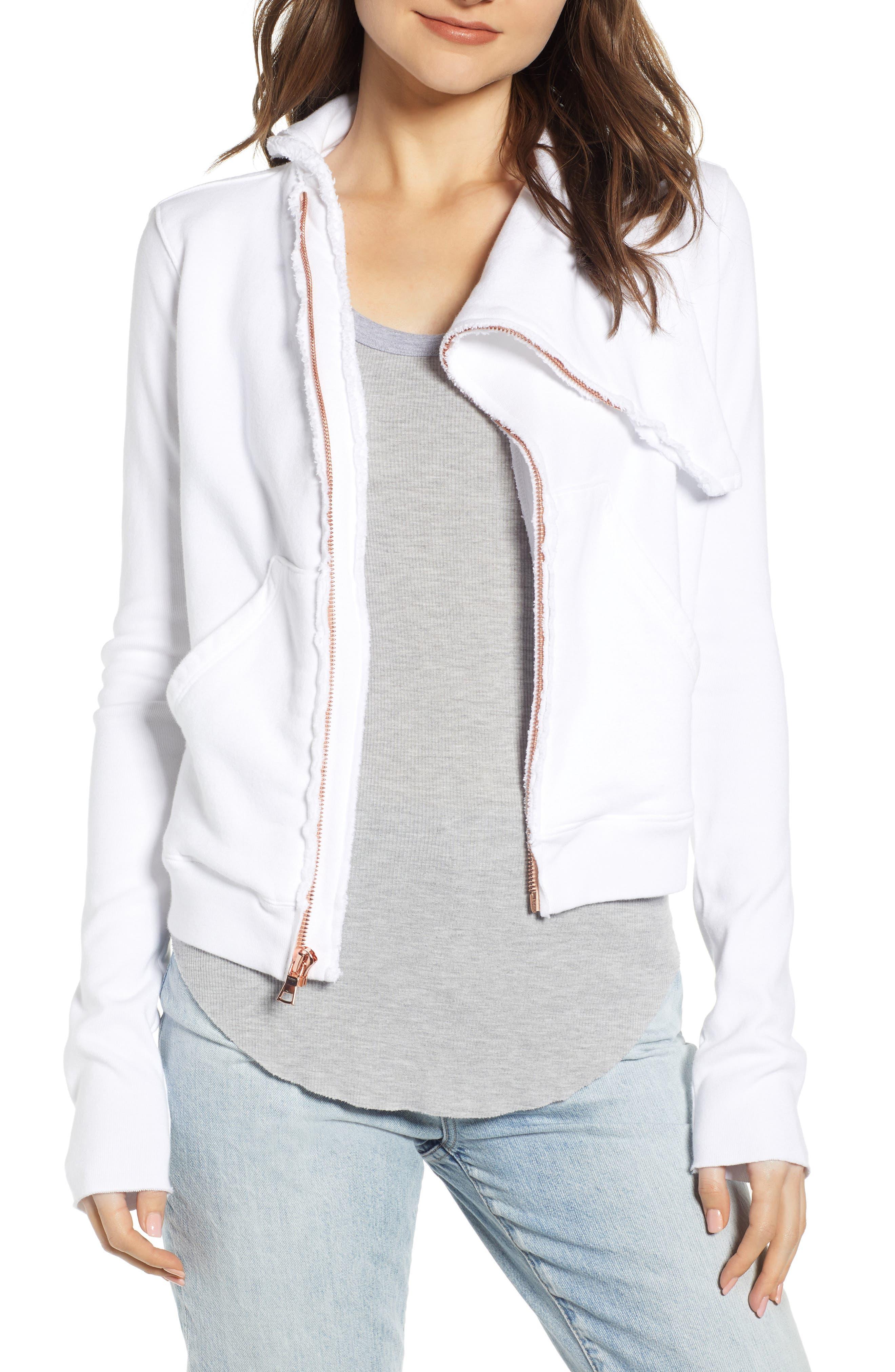 Frank & Eileen Tee Lab Asymmetrical Zip Fleece Jacket, White
