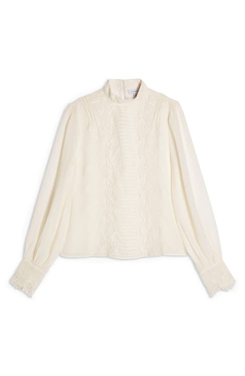 Sheer Embroidered Cutwork Blouse by Topshop