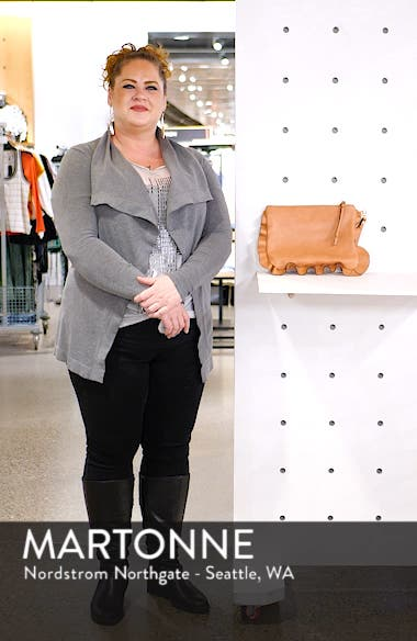 Adelina Faux Leather Ruffle Clutch, sales video thumbnail