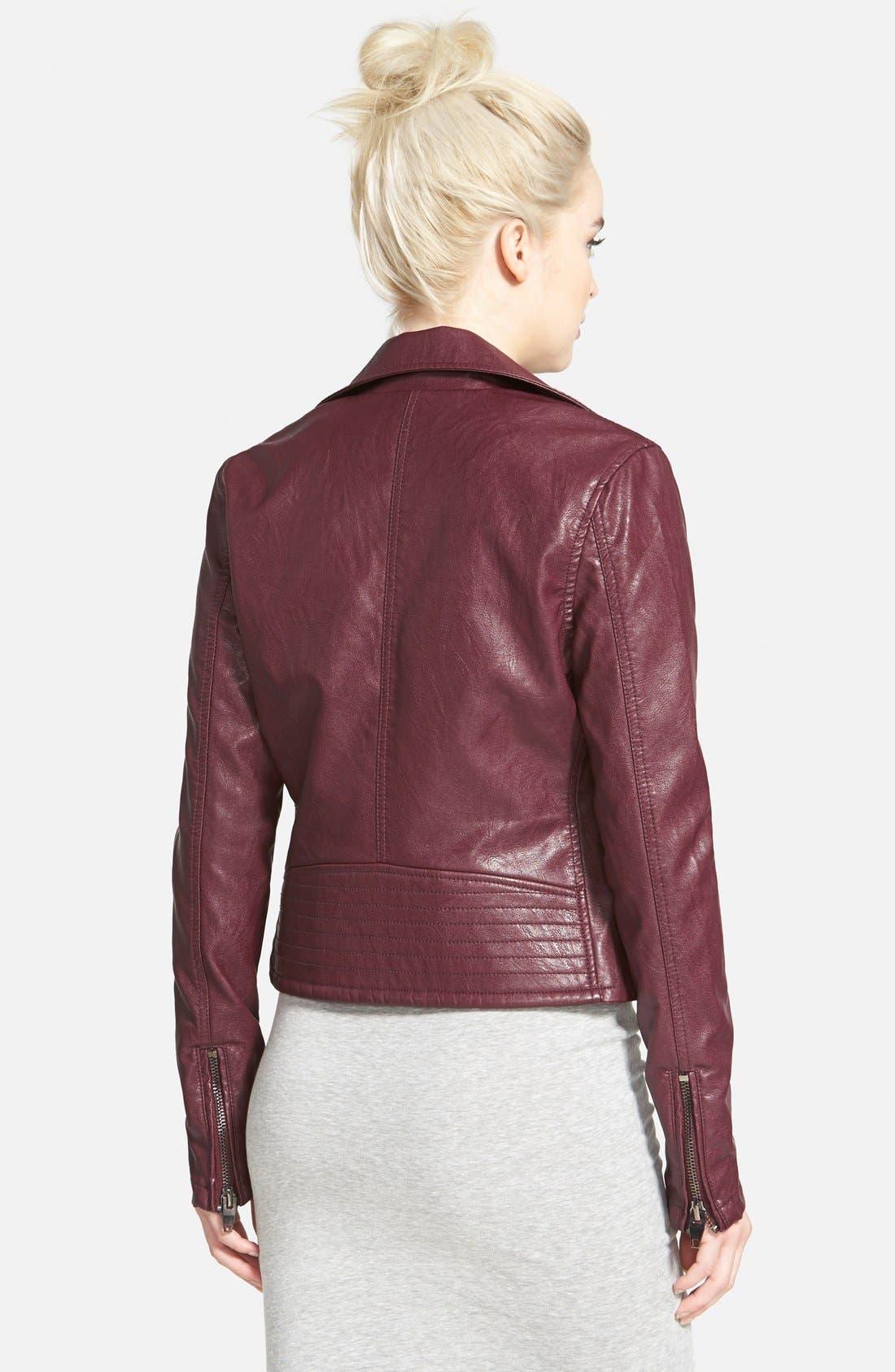 ,                             Faux Leather Moto Jacket,                             Alternate thumbnail 14, color,                             600