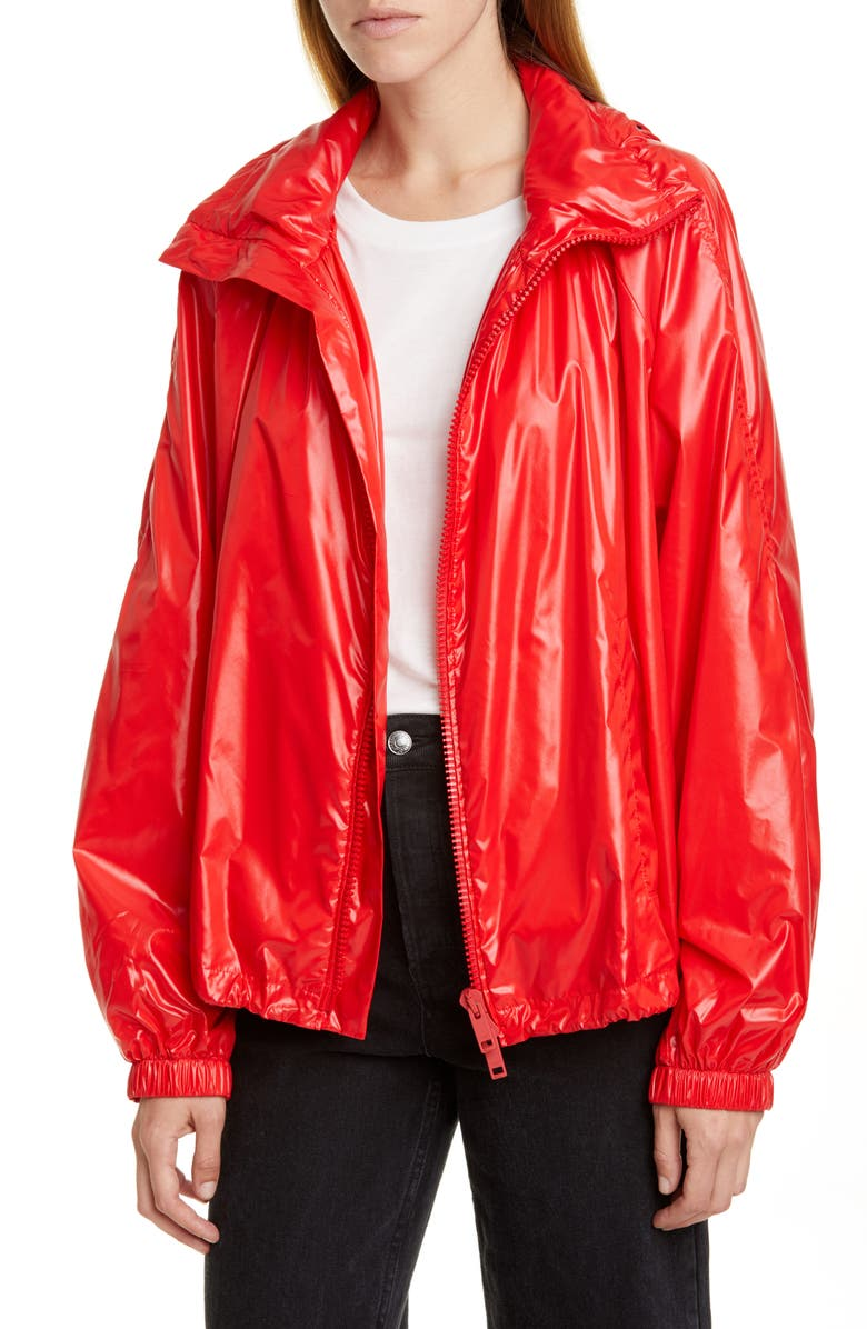GIVENCHY Shiny Logo Nylon Windbreaker, Main, color, POP RED