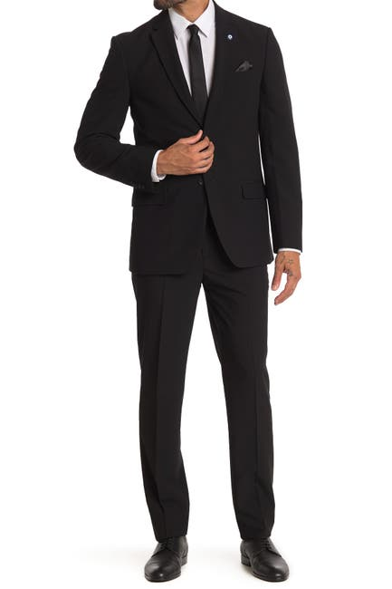Image of Ben Sherman Black Solid Slim Fit 2-Piece Suit