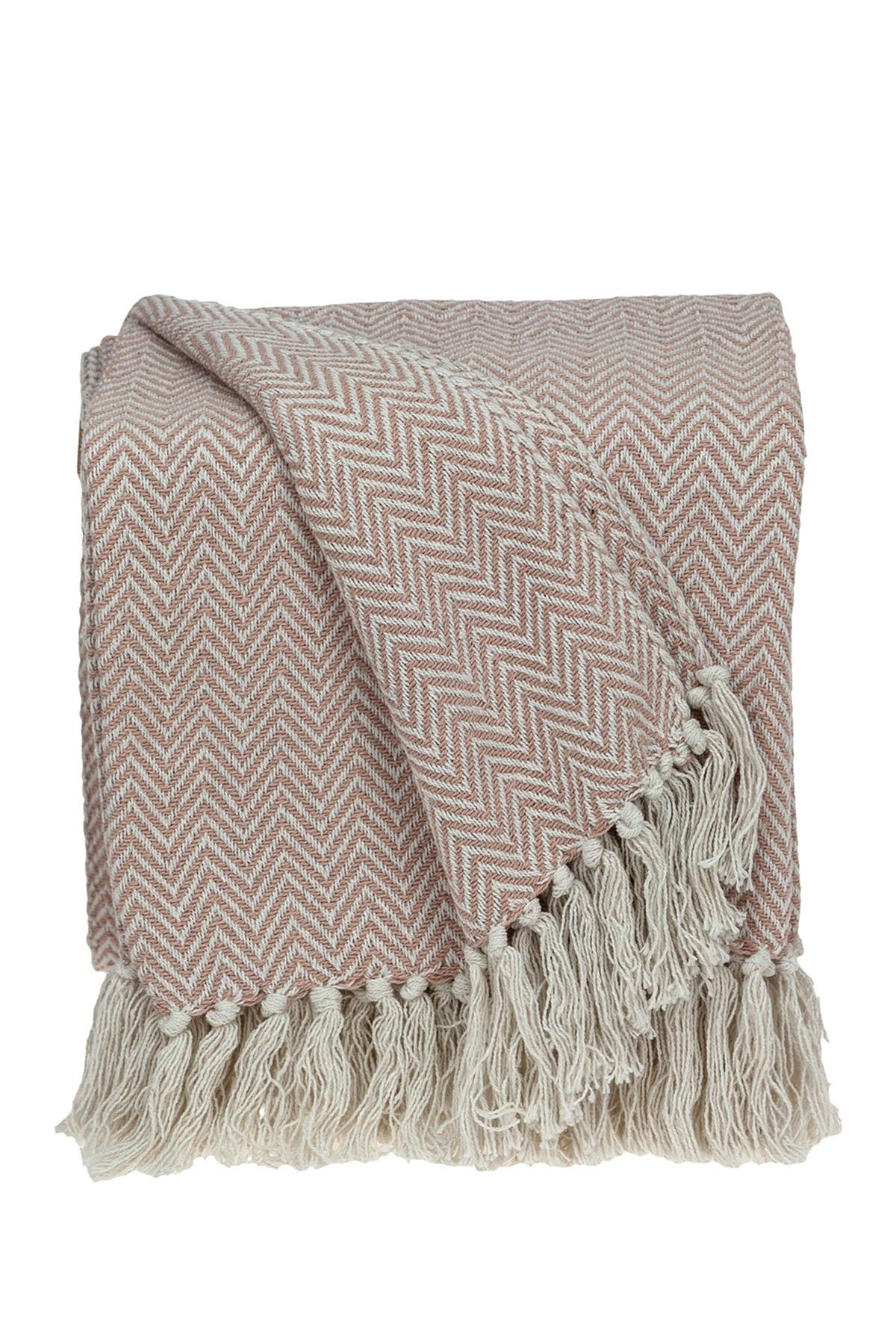 "Image of Parkland Collection Isla Transitional Pink 80"" x 97"" Woven Handloom Throw Blanket"