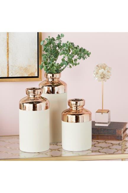 Image of CosmoLiving by Cosmopolitan Bottle-Shaped Matte White Ceramic Vase - Set of 3