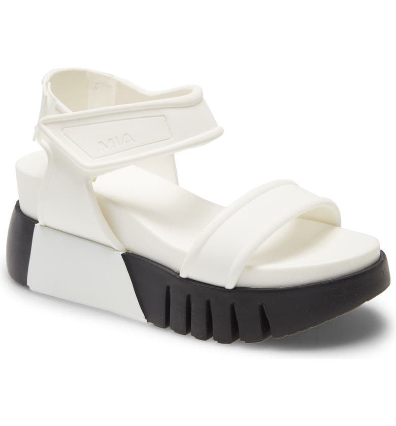 MIA Zita Platform Wedge Sandal, Main, color, WHITE RUBBER