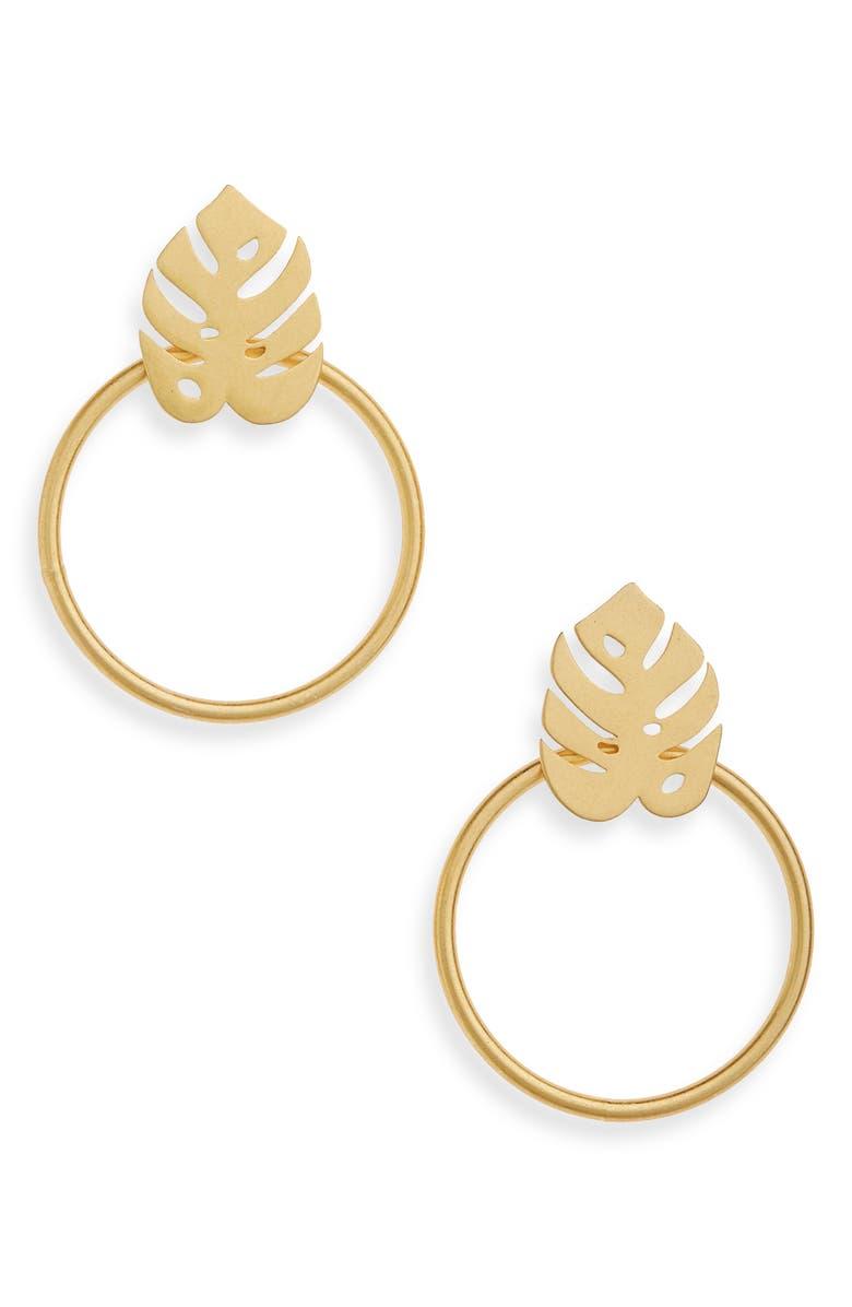 MADEWELL Palmleaf Hoop Earrings, Main, color, 710