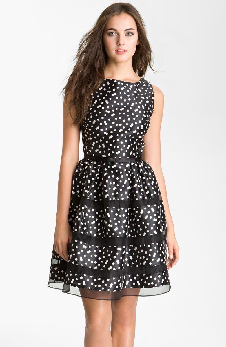 TAYLOR DRESSES Belted Taffeta Fit & Flare Dress, Main, color, 001