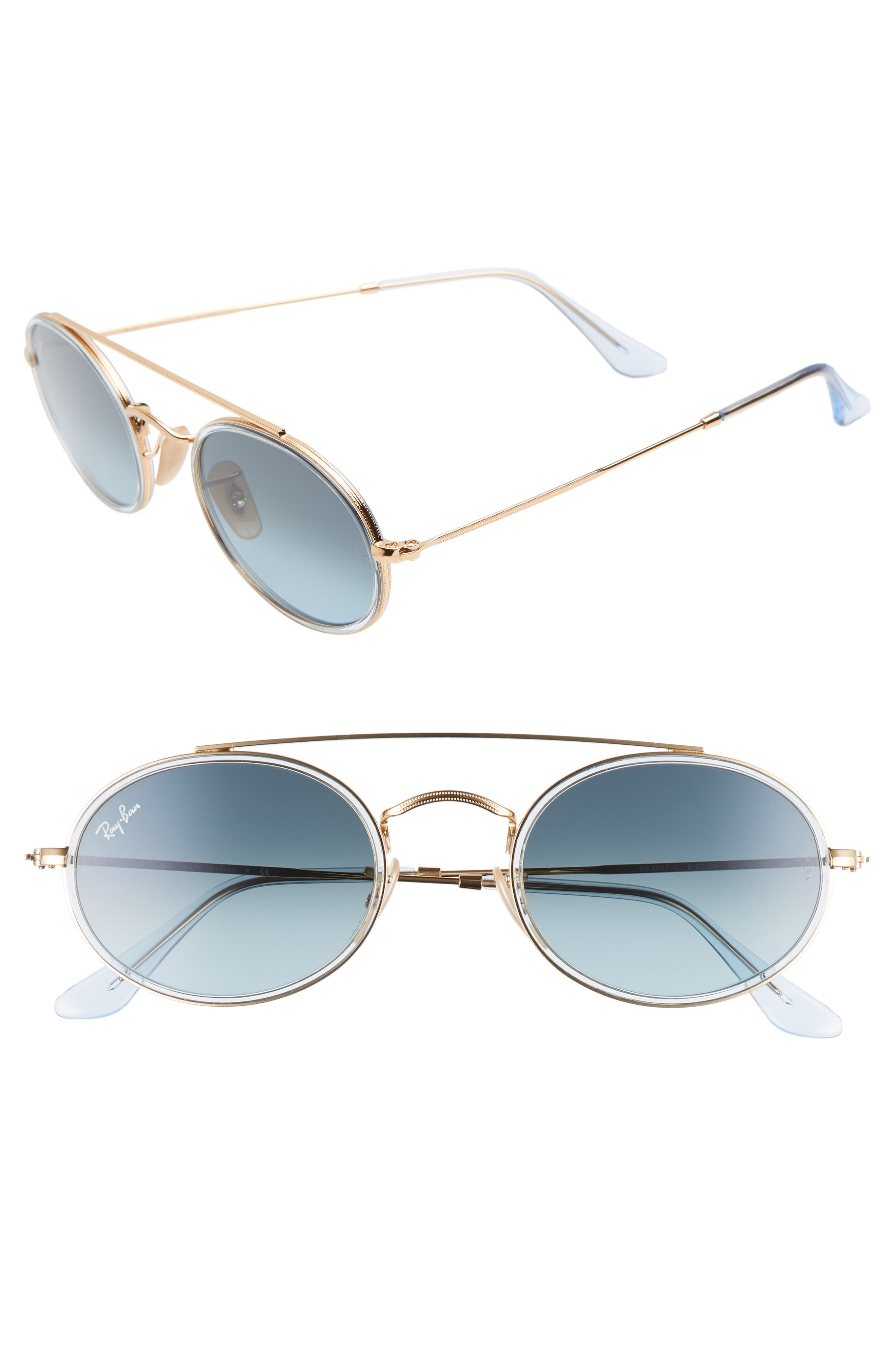Ray-Ban Elite 52Mm Gradient Oval Sunglasses - Gold/ Blue Gradient