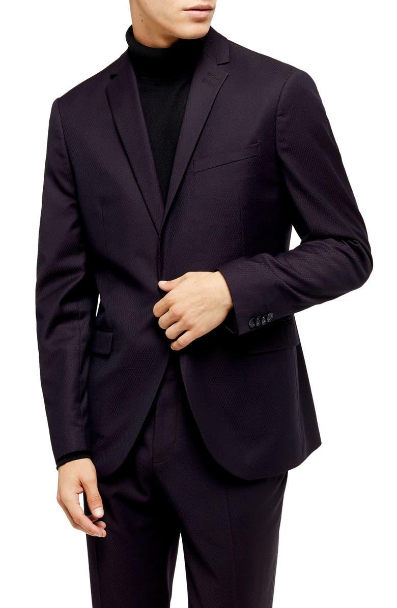 TOPMAN Burg Maverick SB1 Slim Fit Sport Coat, Main, color, BURGUNDY