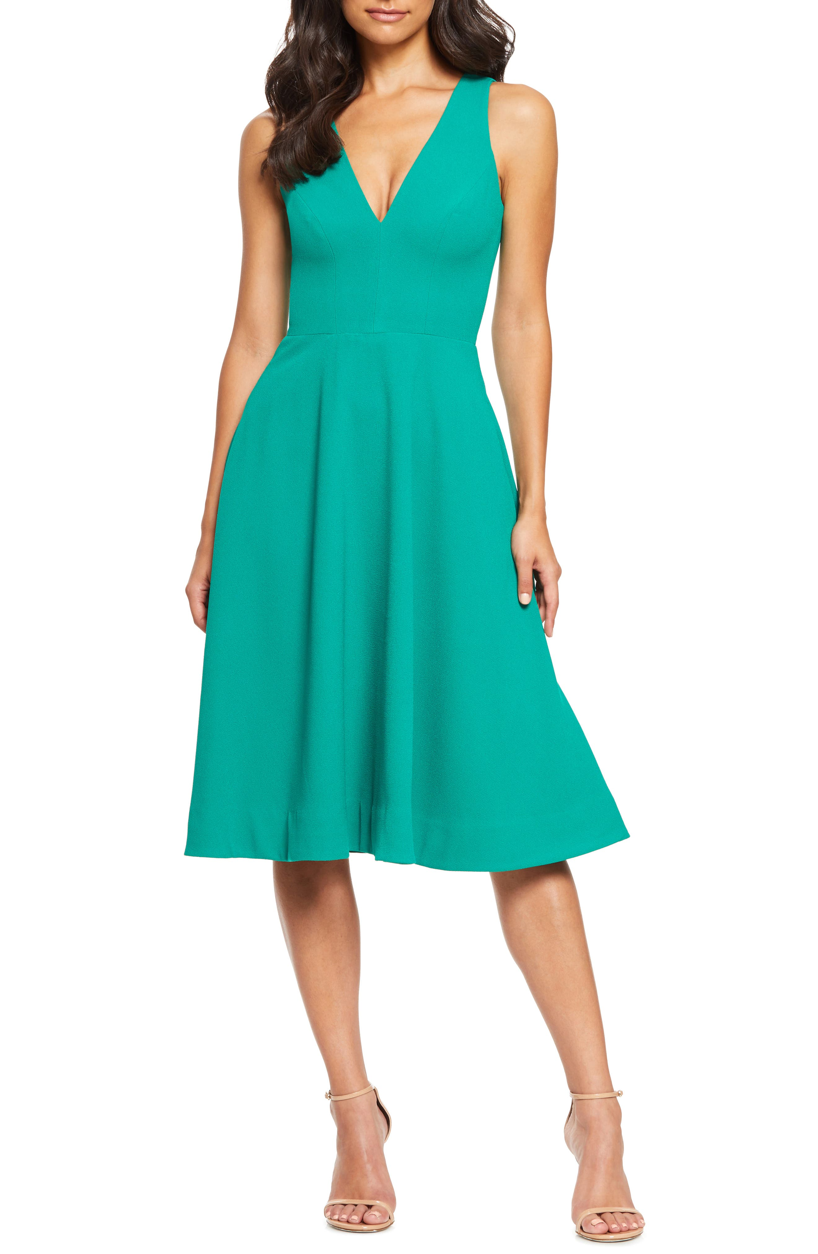 Dress The Population Catalina Fit & Flare Dress, Green