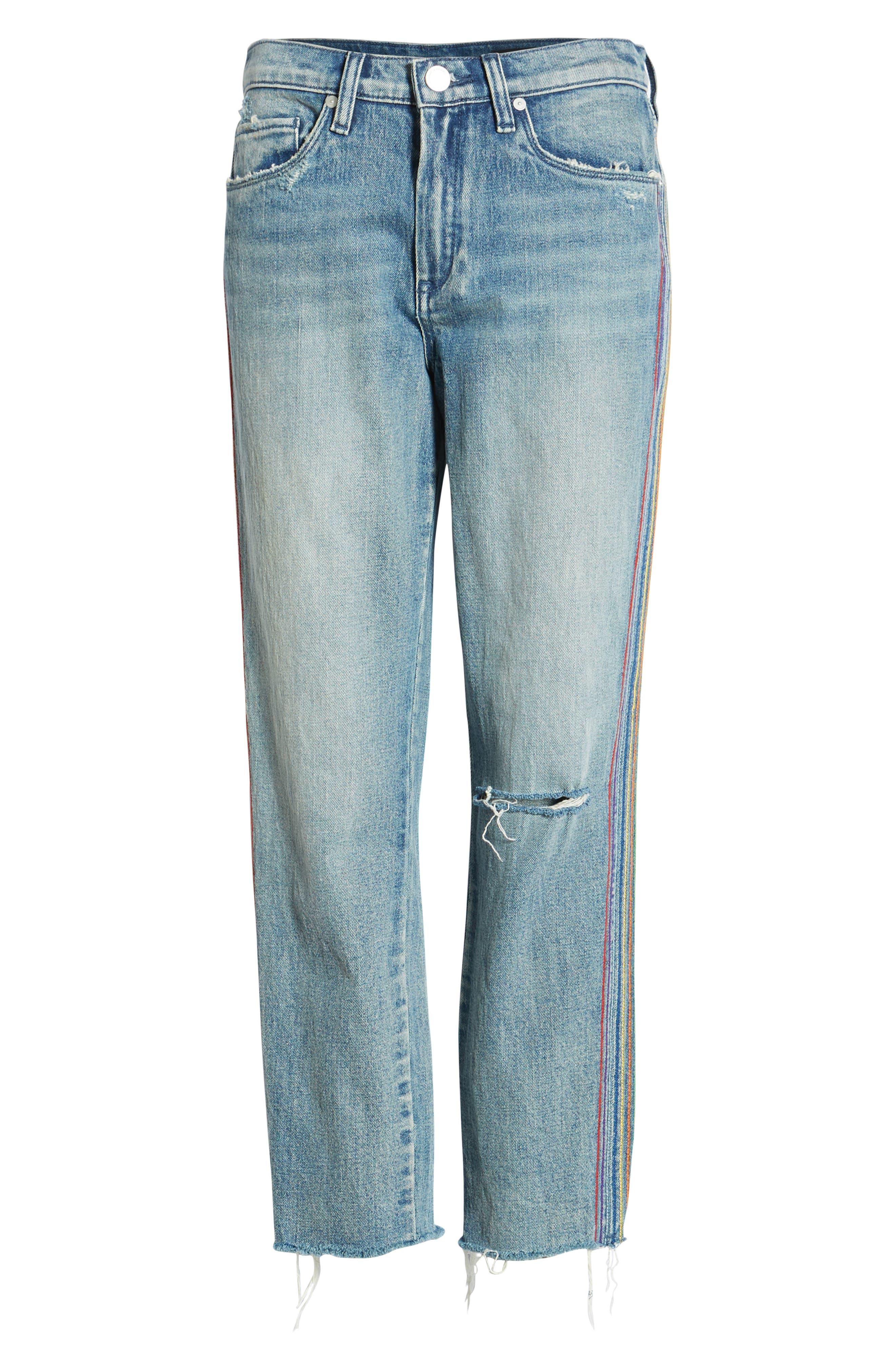 ,                             Rainbow Side Seam Ripped Straight Leg Jeans,                             Alternate thumbnail 7, color,                             400