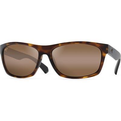Maui Jim Tumbleland 62Mm Polarized Oversize Sunglasses - Matte Tortoise