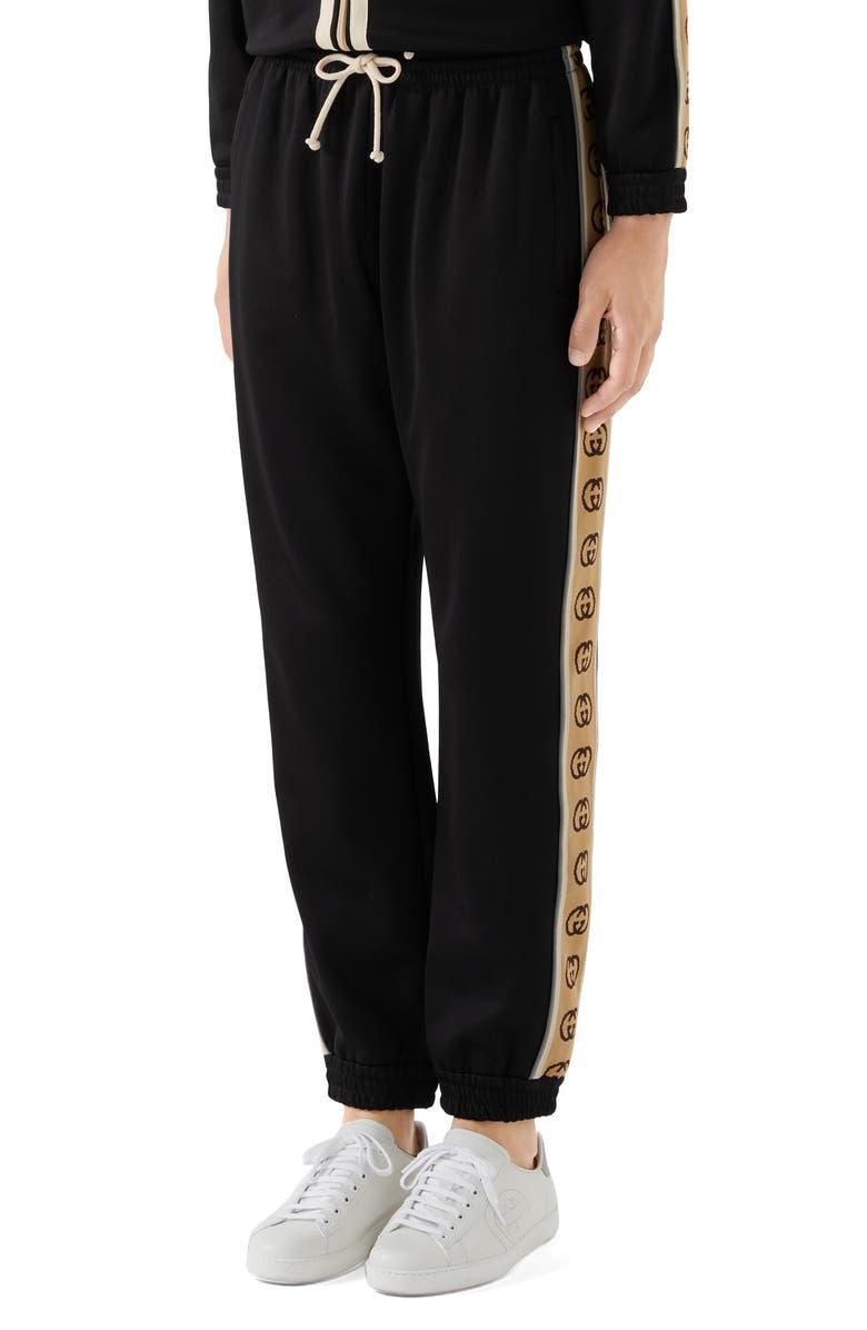 GUCCI Loose Technical Jersey Jogging Pants, Main, color, BLACK