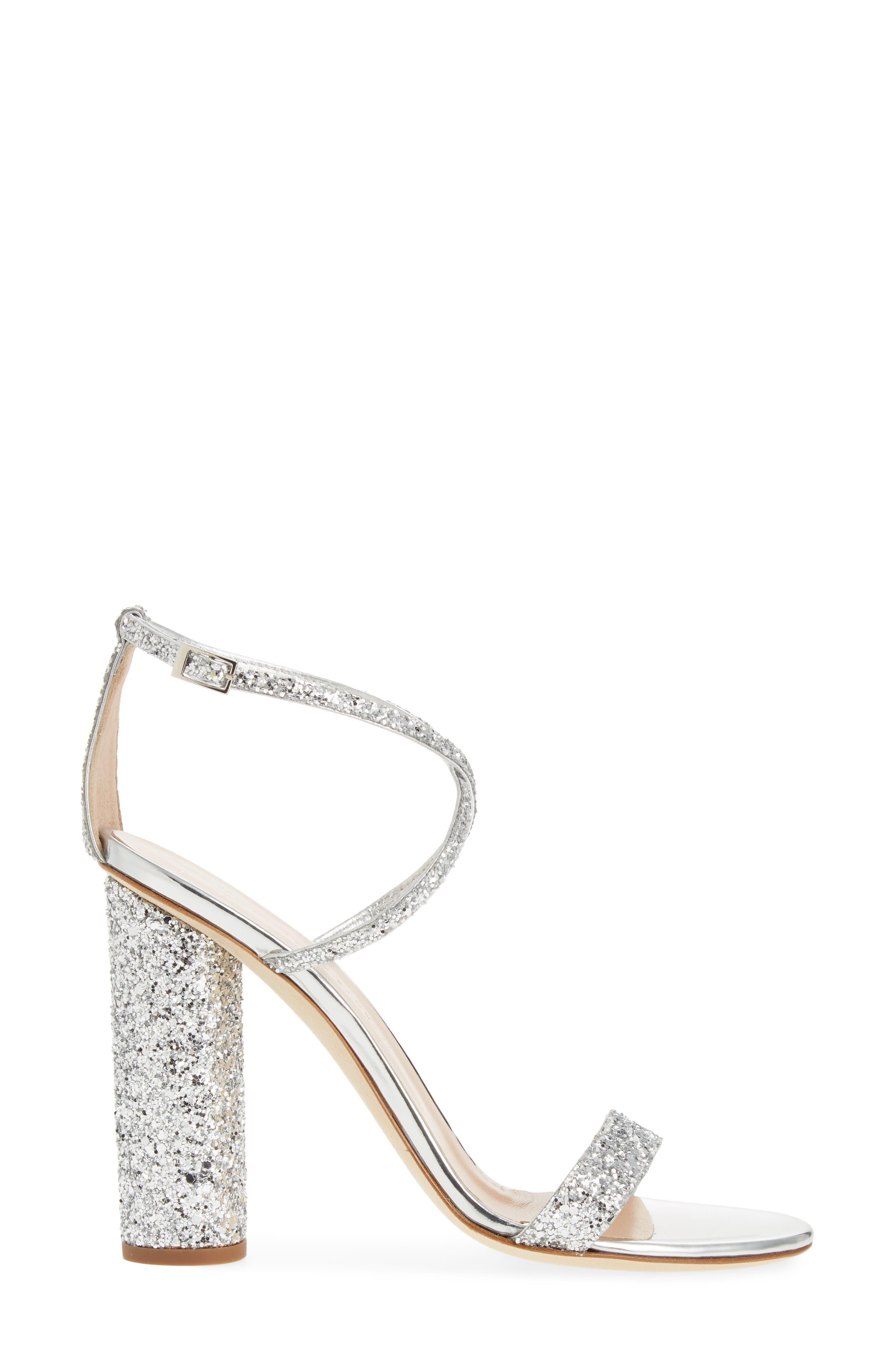 ,                             Glitter Heel Sandal,                             Alternate thumbnail 3, color,                             SILVER