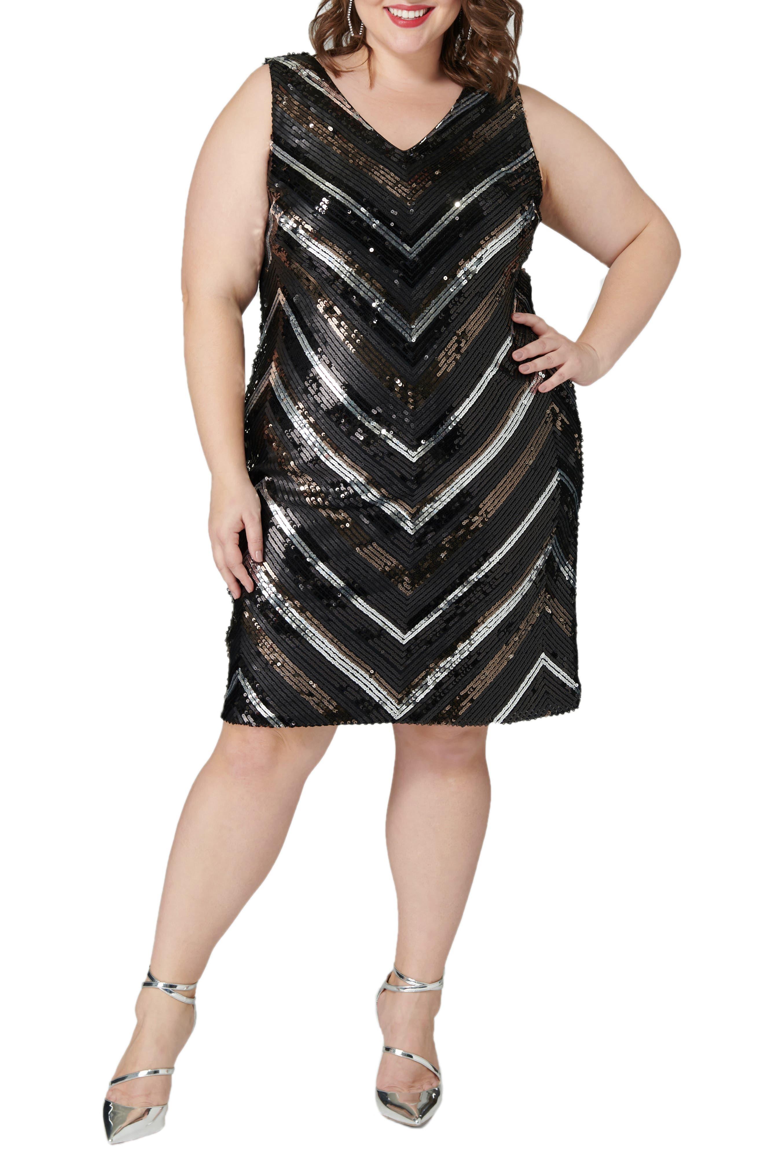 Vintage 1920s Dresses – Where to Buy Plus Size Womens Maree Pour Toi Sequin Sheath Dress $159.00 AT vintagedancer.com