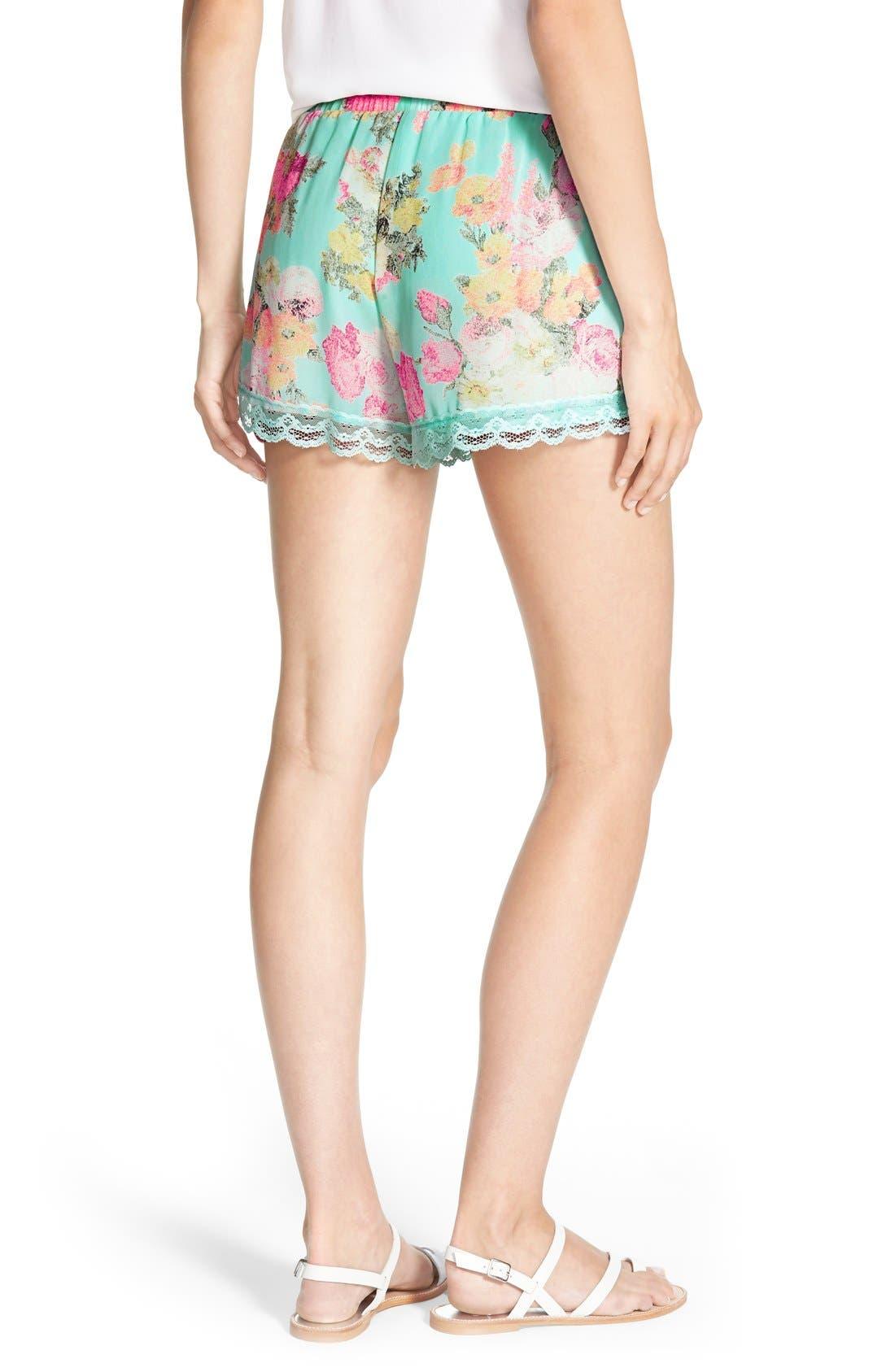 ,                             Lace Trim Floral Print Shorts,                             Alternate thumbnail 24, color,                             403