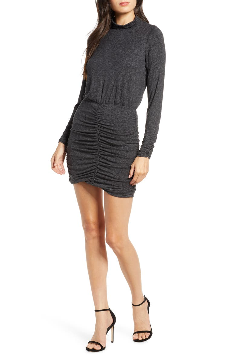 ALI & JAY Sunset & Vine Ruched Long Sleeve Body-Con Dress, Main, color, CHARCOAL