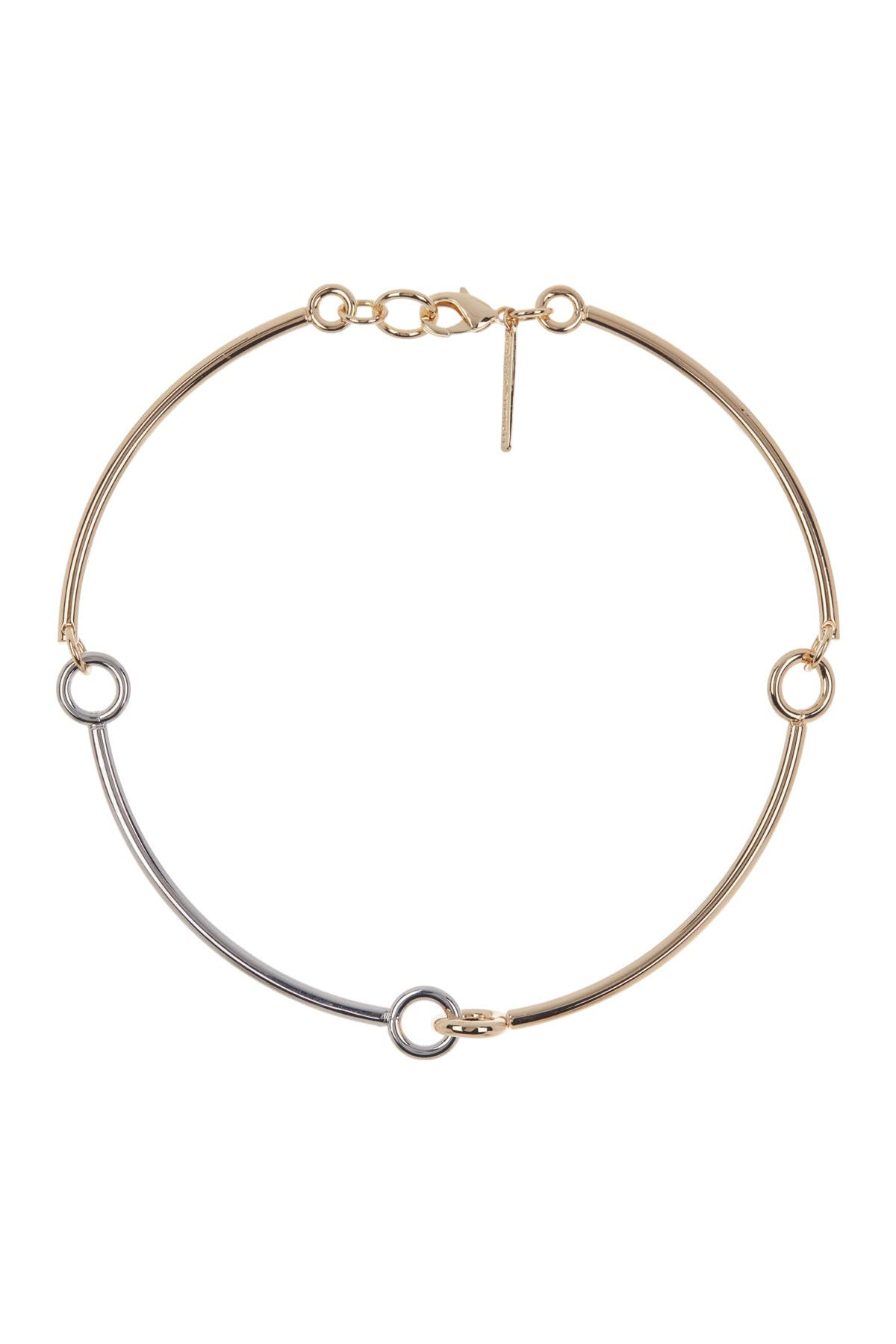 Image of Rebecca Minkoff Gold Plated Brass Interlocking Ring Collar Necklace