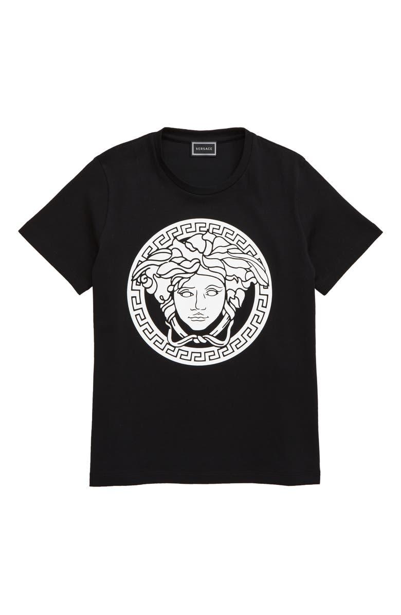 VERSACE Medusa Logo T-Shirt, Main, color, BLACK/ WHITE