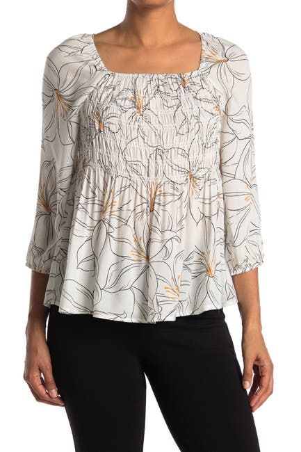 Image of DR2 by Daniel Rainn Printed Smock Front Woven Top