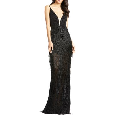 MAC Duggal Bead Stripe And Fringe Column Gown, Black