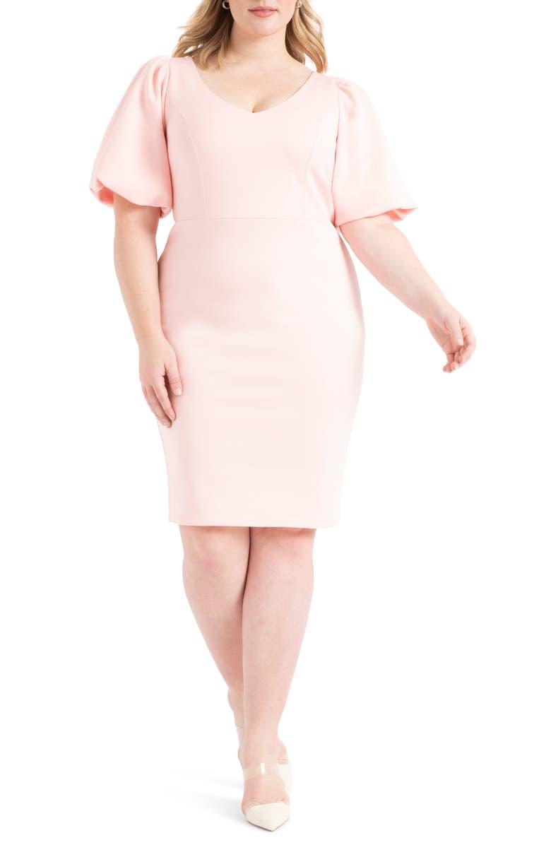 ELOQUII Puff Sleeve Body-Con Dress, Main, color, 650