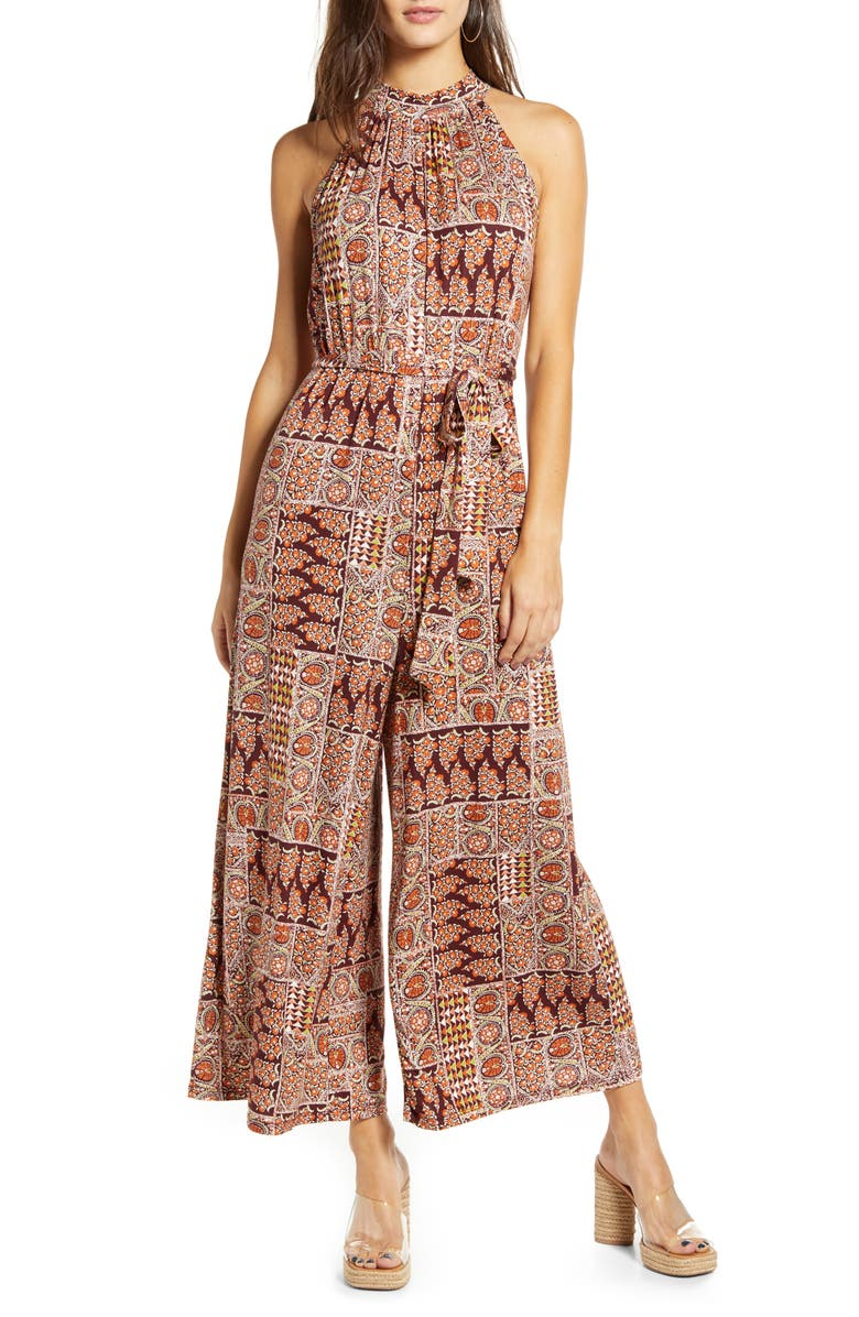 ALL IN FAVOR Patchwork Sleeveless Jumpsuit, Main, color, BURGUNDY-GREEN
