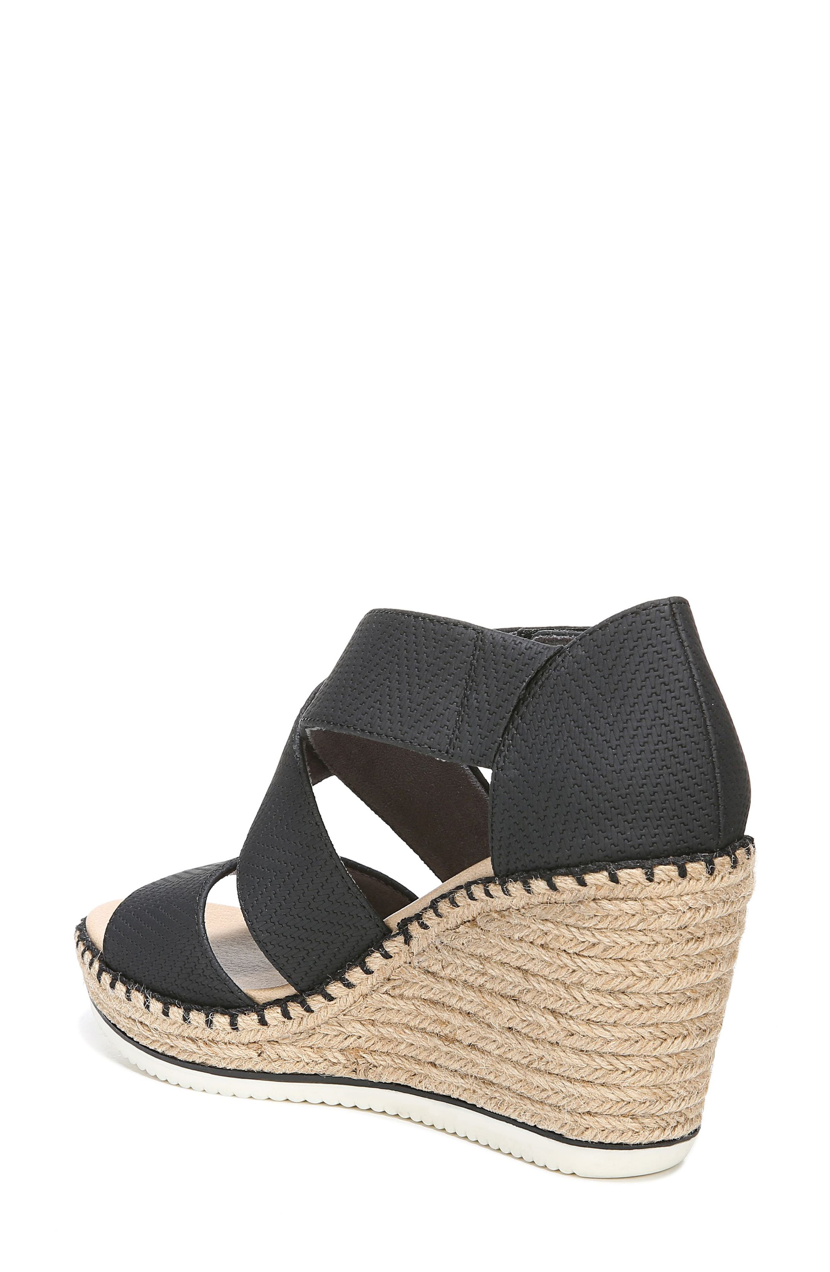 ,                             Vacay Wedge Sandal,                             Alternate thumbnail 2, color,                             BLACK FAUX LEATHER