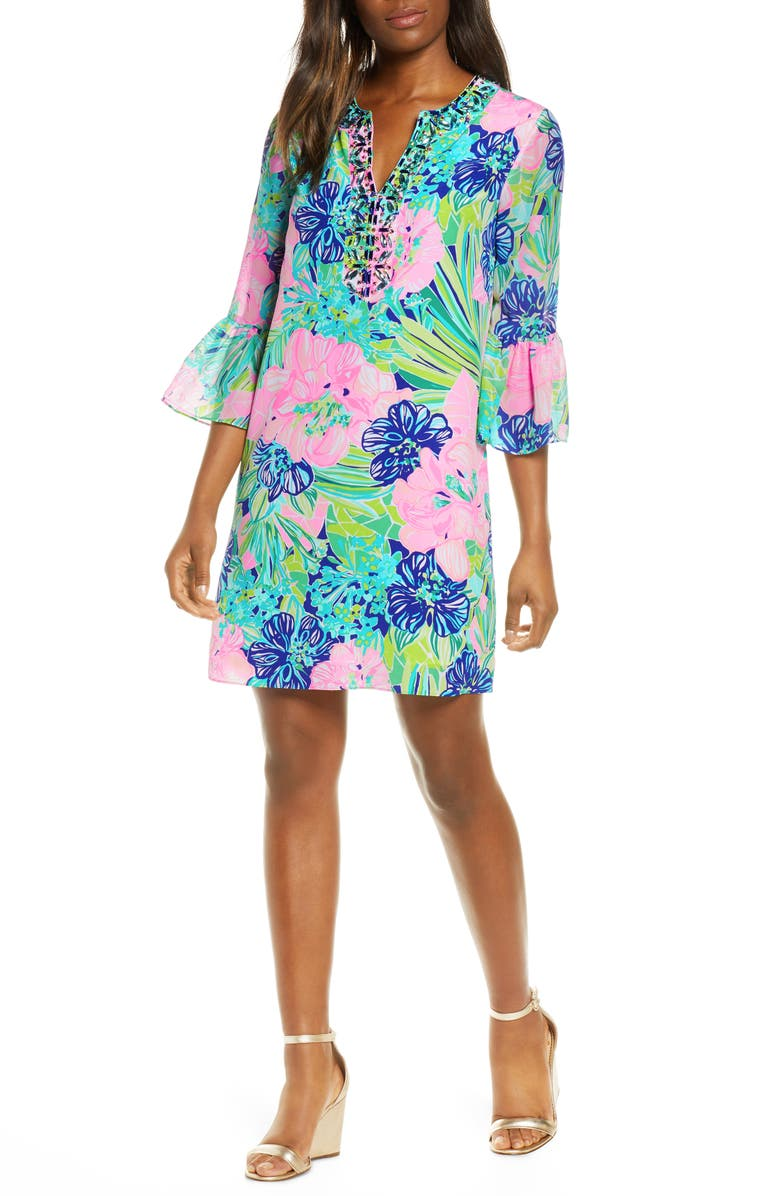 LILLY PULITZER<SUP>®</SUP> Elenora Floral Silk Shift Dress, Main, color, 400