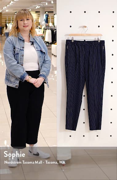 Needle Pinstripe Slim Crop Pants, sales video thumbnail