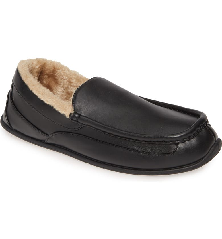 DEER STAGS Spun Slipper, Main, color, BLACK FAUX LEATHER