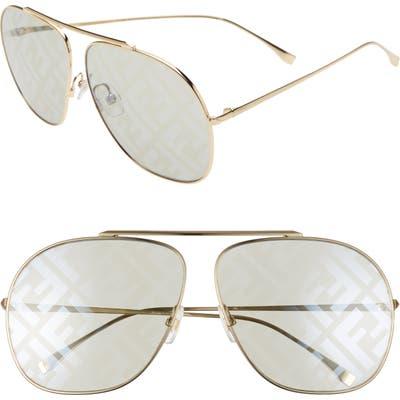 Fendi Oversize Lenticular Lens Aviator Sunglasses - Gold/ Green