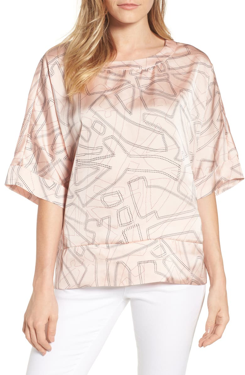KENNETH COLE NEW YORK Boxy Crop Satin Tee, Main, color, TINY STITCHES PEACHY KEEN