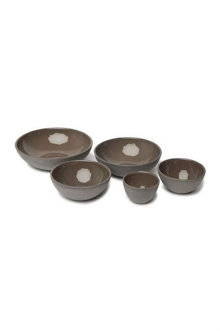 Image of ROOST Safi 5-Piece Low Stoneware Bowl Set - Oyster