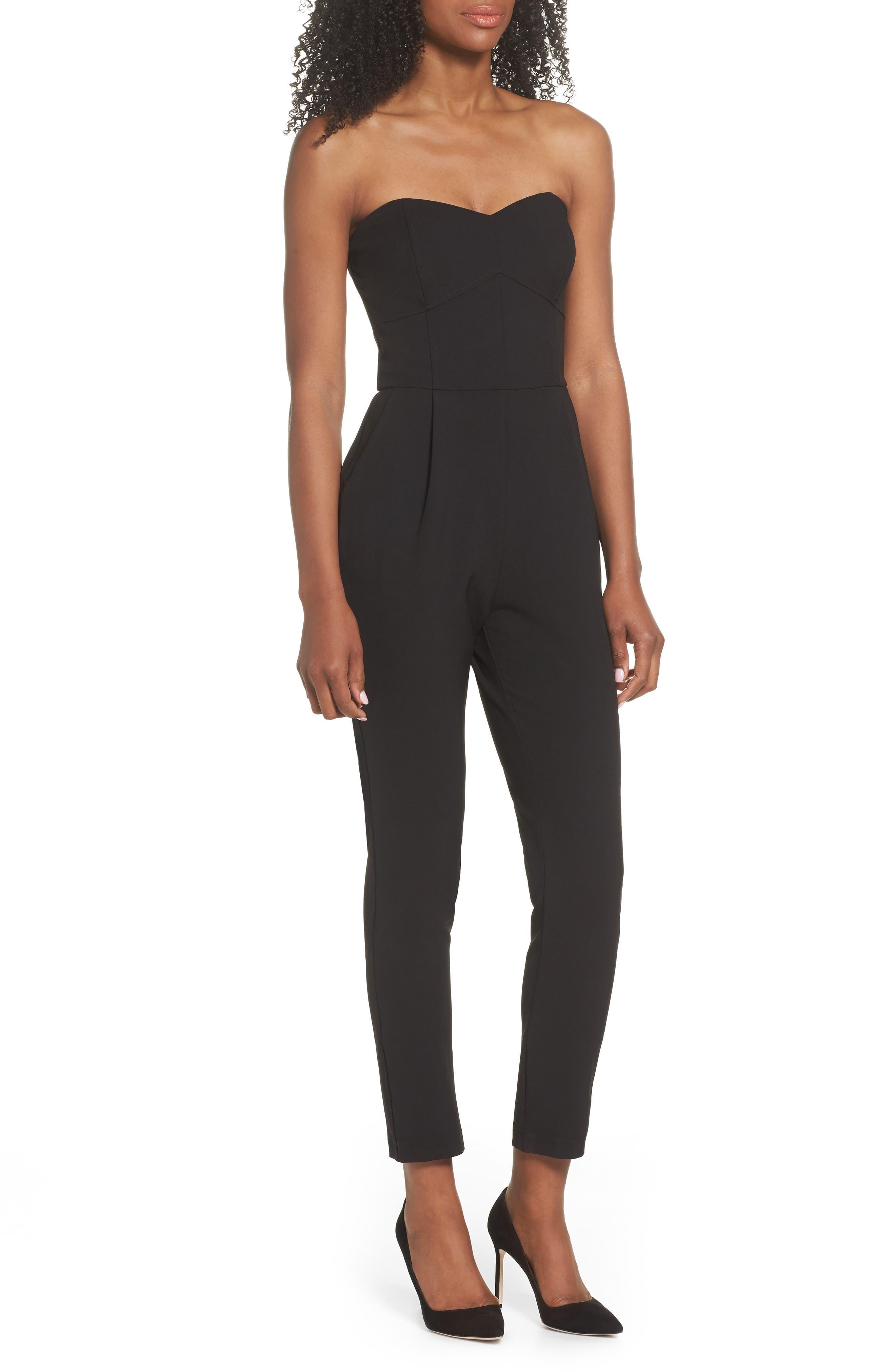 ,                             Strapless Slim Leg Jumpsuit,                             Main thumbnail 1, color,                             001