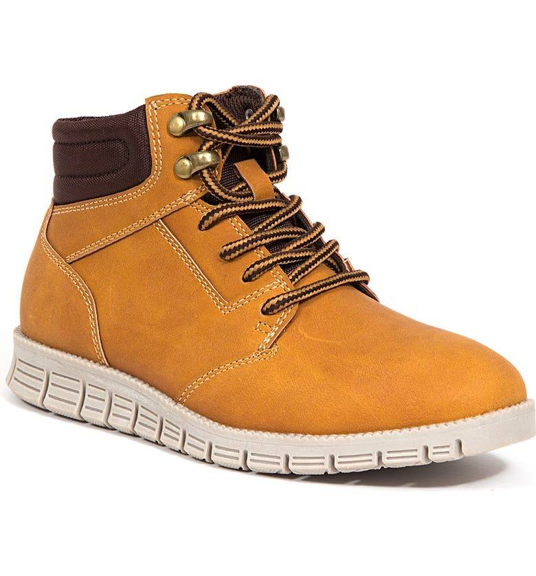 DEER STAGS Archer Jr Classic Lace-up Hybrid Comfort Casual Sneaker Brogue, Main, color, DARK WHEAT