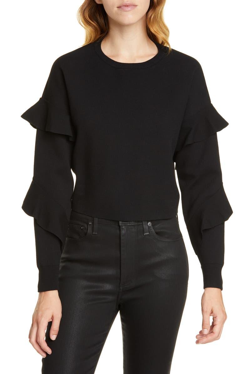 ALICE + OLIVIA Nettie Ruffle Sleeve Sweater, Main, color, 001
