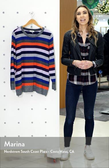 Metallic Detail Stripe Cotton & Wool Blend Turtleneck Sweater, sales video thumbnail