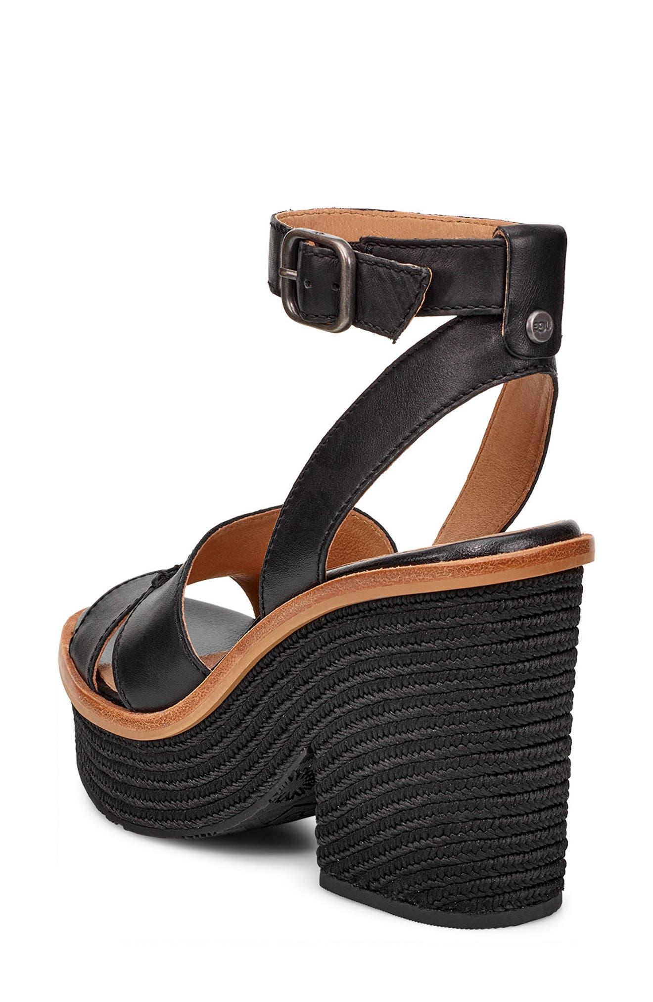 ,                             Carine Platform Sandal,                             Alternate thumbnail 3, color,                             BLACK LEATHER