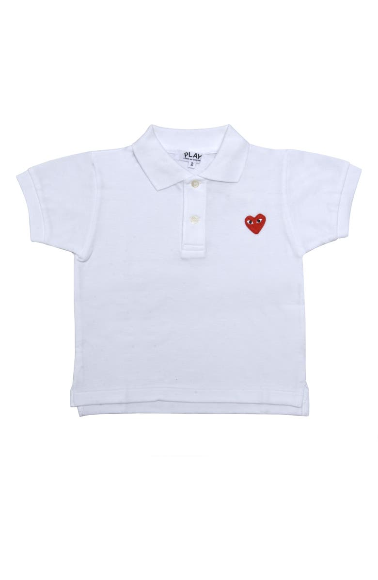 COMME DES GARÇONS PLAY Little Red Heart Polo, Main, color, WHITE