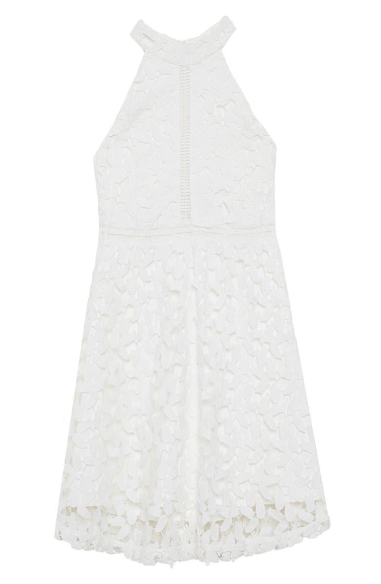 BARDOT Junior Gemma Lace Halter Dress, Main, color, WHITE