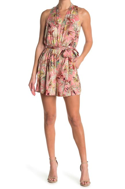 Image of London Times Plunge Neck Tie Waist Tropical Print Romper