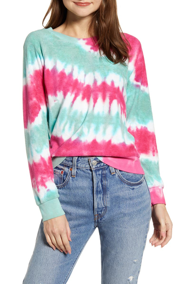WILDFOX Fiona Tie Dye Sweatshirt, Main, color, RETRO TIE DIE