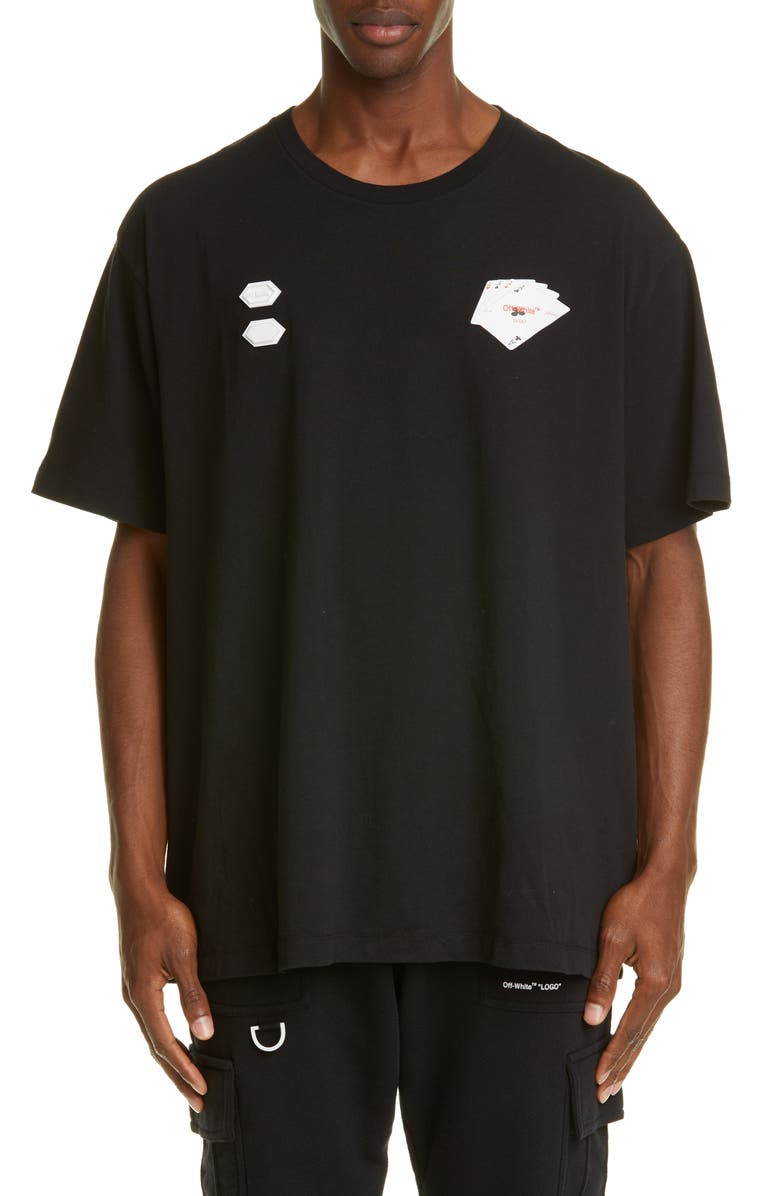 OFF-WHITE Hand Card T-Shirt, Main, color, BLACK MULTI