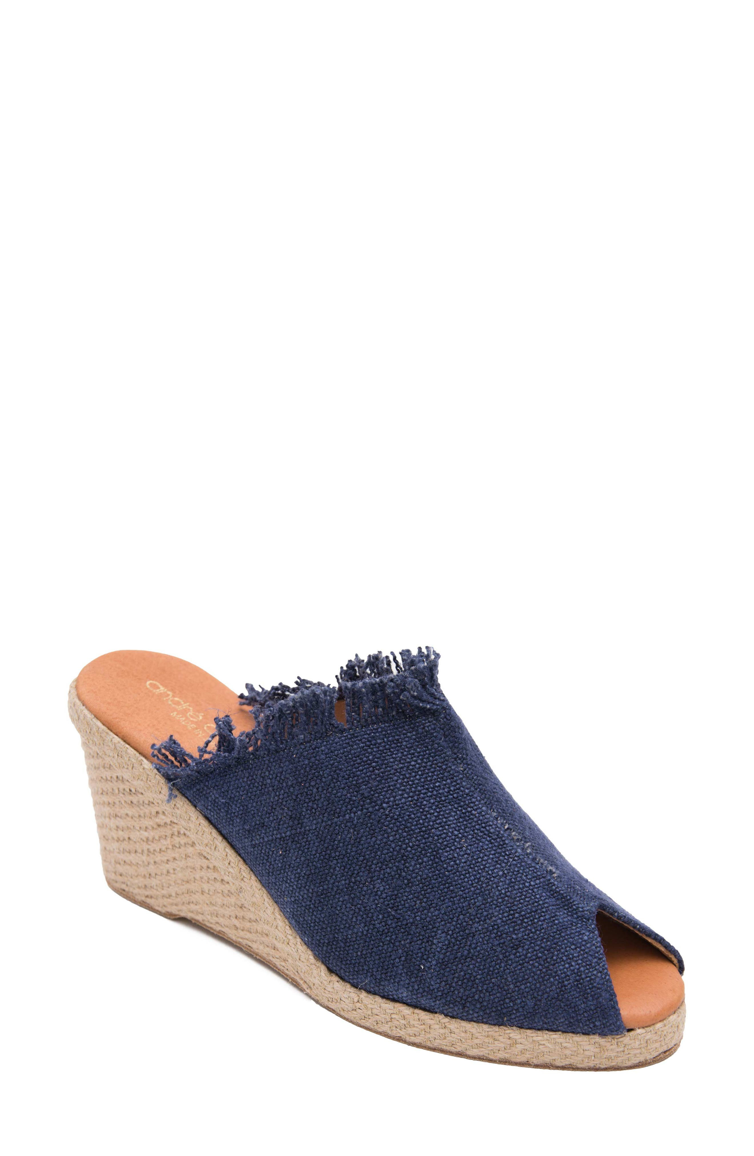 Andre Assous Popy Frayed Wedge Mule, Blue