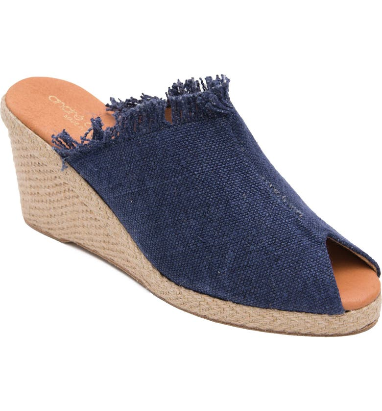 ANDRÉ ASSOUS Popy Frayed Wedge Mule, Main, color, NAVY FABRIC