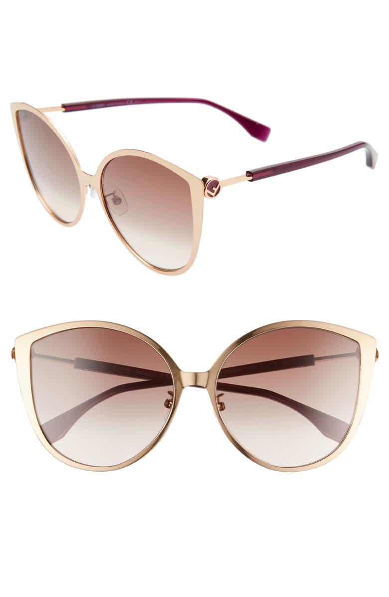 FENDI 60mm Special Fit Cat Eye Sunglasses, Main, color, GOLD COPP/ BROWN GRADIENT