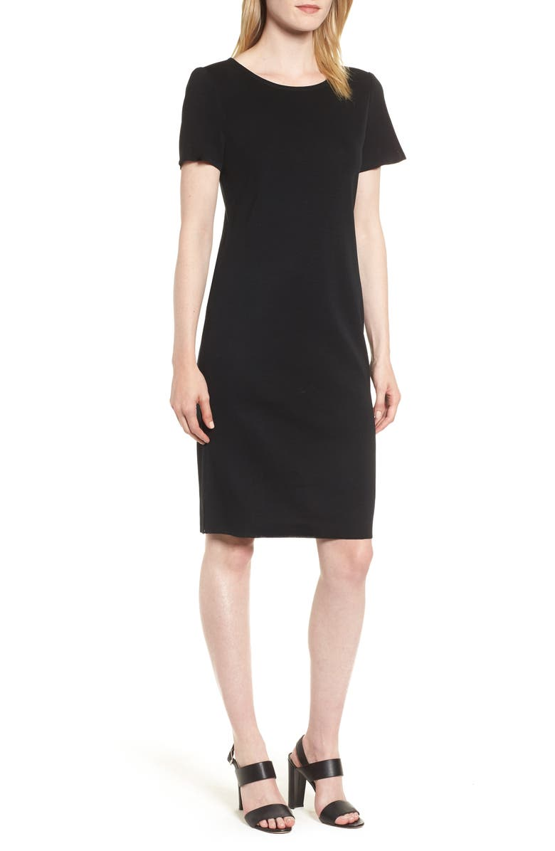 MING WANG Short Sleeve Dress, Main, color, BLACK